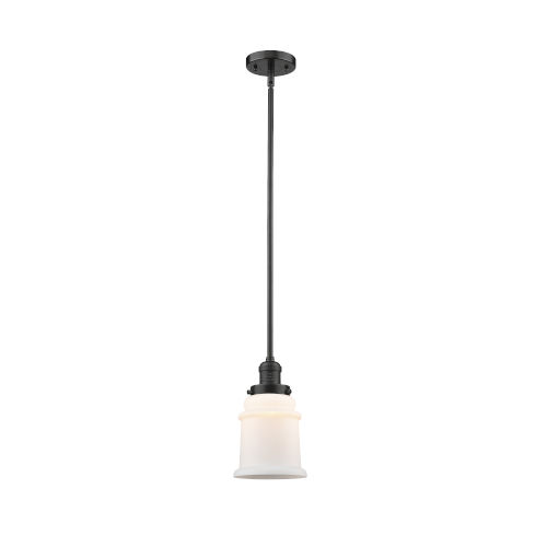 Canton Oil Rubbed Bronze LED Hang Straight Swivel Mini Pendant with Matte White Glass