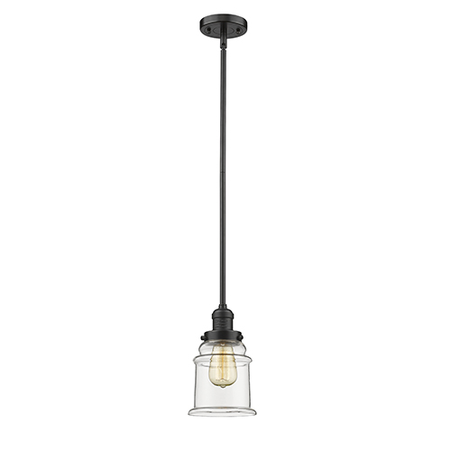 Canton Oiled Rubbed Bronze 10-Inch One-Light Mini Pendant with Clear Bell Glass