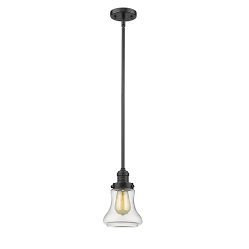 Innovations Lighting Bellmont Oiled Rubbed Bronze 10-Inch LED Mini Pendant with Clear Hourglass Glass