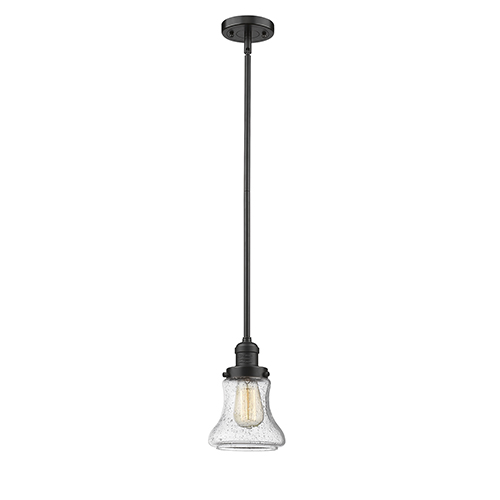 Innovations Lighting Bellmont Oiled Rubbed Bronze 10-Inch LED Mini Pendant with Seedy Hourglass Glass