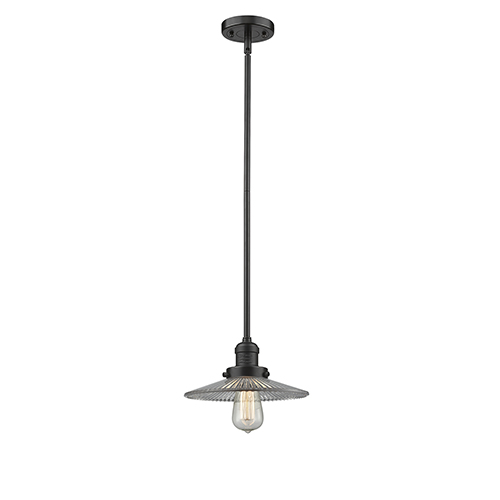 Innovations Lighting Halophane Oiled Rubbed Bronze Eight-Inch One-Light Mini Pendant with Halophane Cone Glass