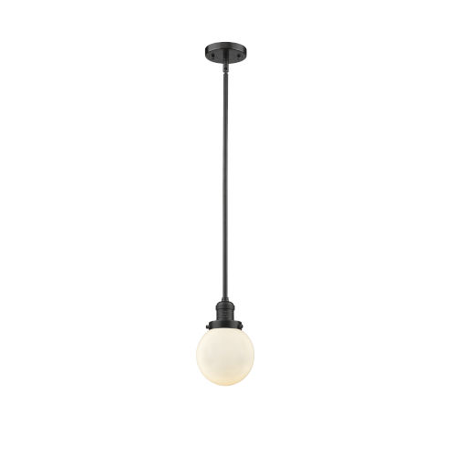 Franklin Restoration Oil Rubbed Bronze Six-Inch One-Light Mini Pendant with Matte White Glass Shade