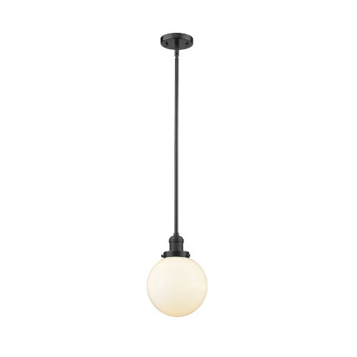 Franklin Restoration Oil Rubbed Bronze Eight-Inch LED Mini Pendant with Matte White Glass Shade