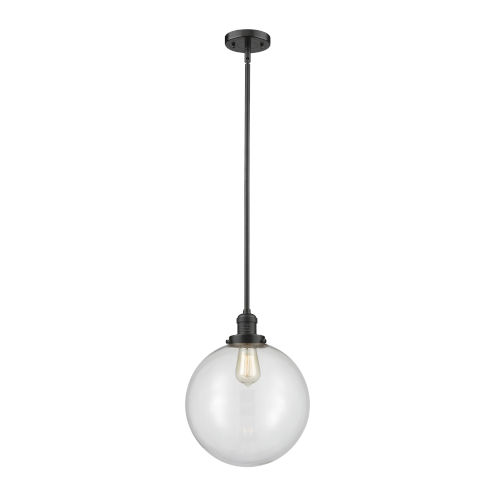 Franklin Restoration Oil Rubbed Bronze 12-Inch One-Light Pendant with Clear Beacon Shade