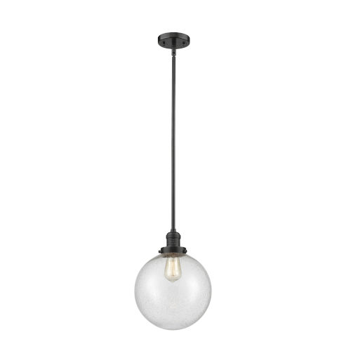 Franklin Restoration Oil Rubbed Bronze 10-Inch One-Light Pendant with Seedy Glass Shade