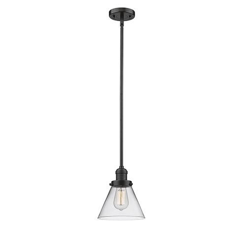 Innovations Lighting Large Cone Oiled Rubbed Bronze 10-Inch LED Mini Pendant with Clear Cone Glass