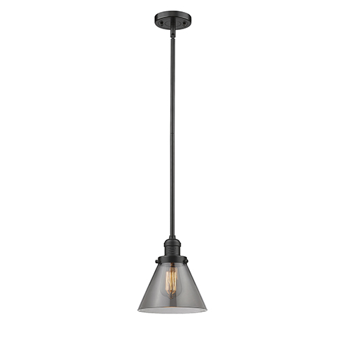 Innovations Lighting Large Cone Oiled Rubbed Bronze 10-Inch One-Light Mini Pendant with Smoked Cone Glass