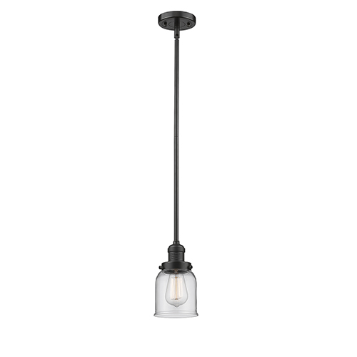 Innovations Lighting Small Bell Oiled Rubbed Bronze 10-Inch LED Mini Pendant with Clear Bell Glass