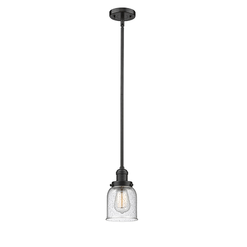 Innovations Lighting Small Bell Oiled Rubbed Bronze 10-Inch LED Mini Pendant with Seedy Bell Glass