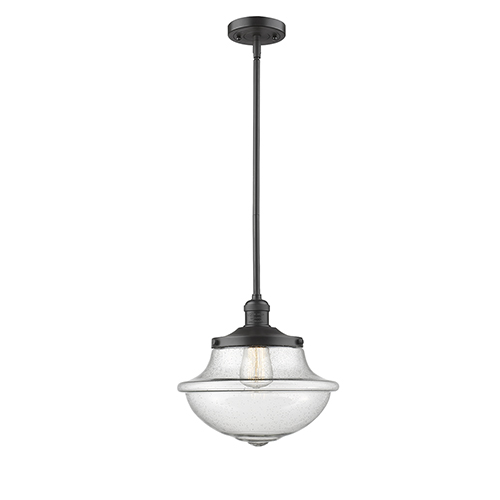 Innovations Lighting Oxford School House Oiled Rubbed Bronze 11-Inch One-Light Pendant with Seedy Bell Glass