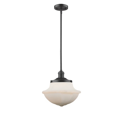 Led schoolhouse pendant lighting free shipping bellacor oxford school house oiled rubbed bronze led pendant with white bell glass aloadofball Image collections