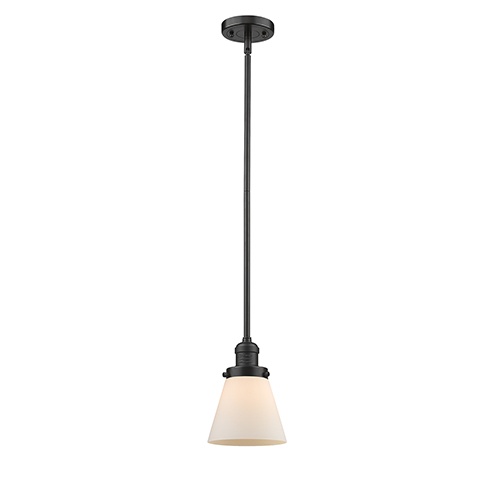 Innovations Lighting Small Cone Oiled Rubbed Bronze Eight-Inch One-Light Mini Pendant with Matte White Cased Cone Glass