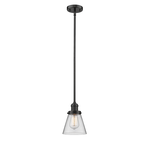 Innovations Lighting Small Cone Oiled Rubbed Bronze Eight-Inch One-Light Mini Pendant with Clear Cone Glass