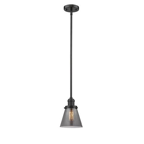 Innovations Lighting Small Cone Oiled Rubbed Bronze Eight-Inch LED Mini Pendant with Smoked Cone Glass