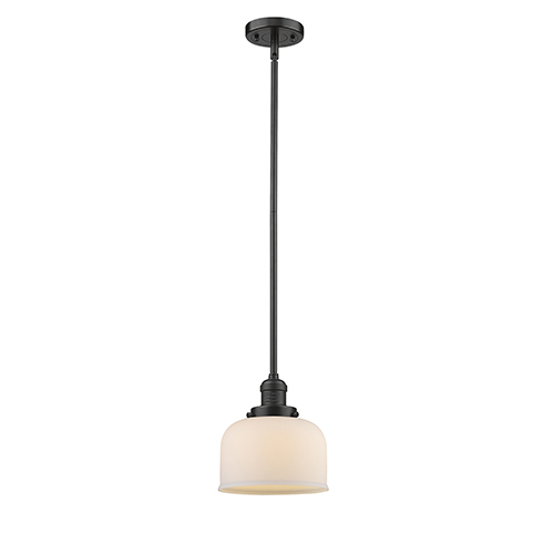 Innovations Lighting Large Bell Oiled Rubbed Bronze 10-Inch LED Mini Pendant with Matte White Cased Dome Glass