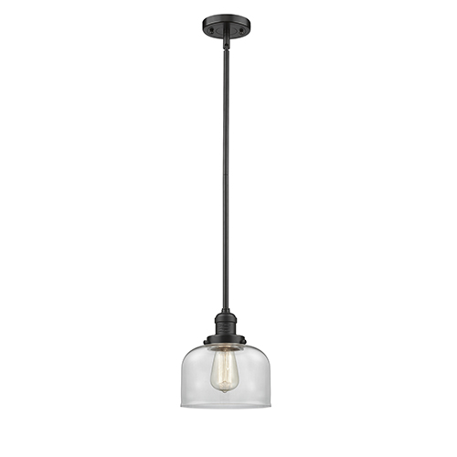 Innovations Lighting Large Bell Oiled Rubbed Bronze 10-Inch LED Mini Pendant with Clear Dome Glass