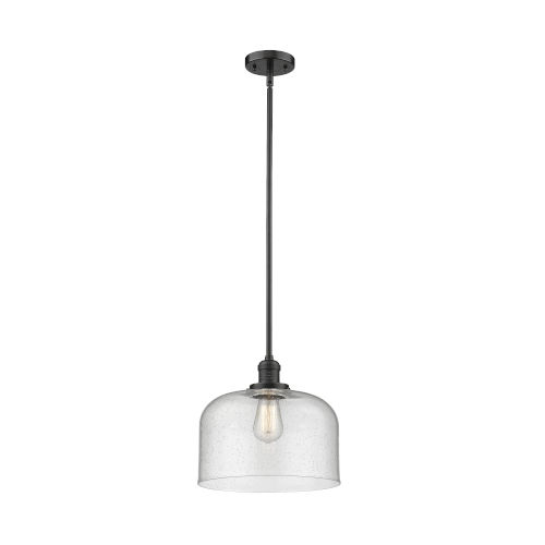 X-Large Bell Oil Rubbed Bronze One-Light Hang Straight Swivel Pendant with Seedy Glass