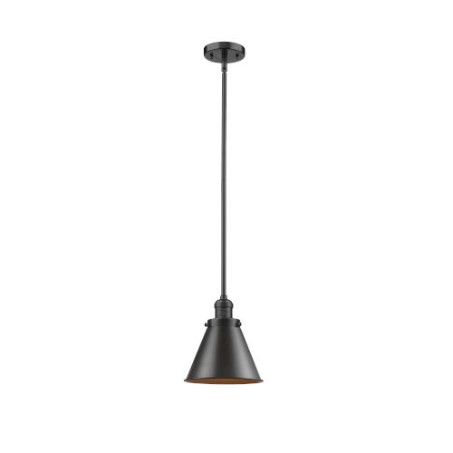 Franklin Restoration Oil Rubbed Bronze Eight-Inch LED Mini Pendant with Appalachian Oil Rubbed Bronze Metal Shade