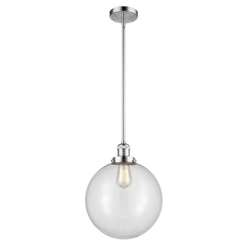 Franklin Restoration Polished Chrome 12-Inch One-Light Pendant with Clear Glass Shade