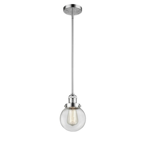 Franklin Restoration Polished Chrome Six-Inch One-Light Mini Pendant with Clear Glass Shade
