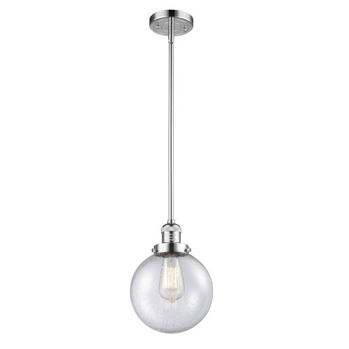 Franklin Restoration Polished Chrome Eight-Inch One-Light Mini Pendant with Seedy Glass Shade