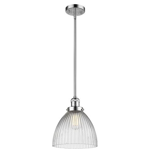Innovations Lighting Seneca Falls Polished Chrome LED Mini Pendant with Halophane Dome Glass