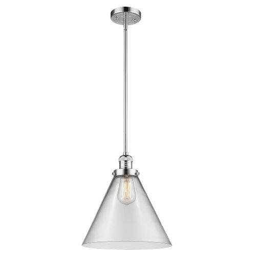 X-Large Cone Polished Chrome LED Pendant