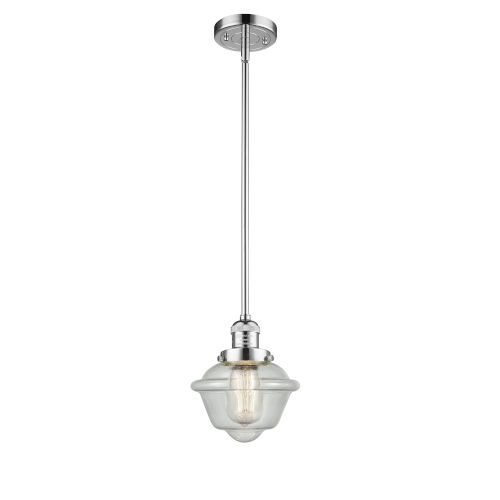 Small Oxford Polished Chrome LED Hang Straight Swivel Mini Pendant with Seedy Glass