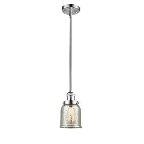 Small Bell Polished Chrome One-Light Hang Straight Swivel Mini Pendant with Silver Plated Mercury Glass