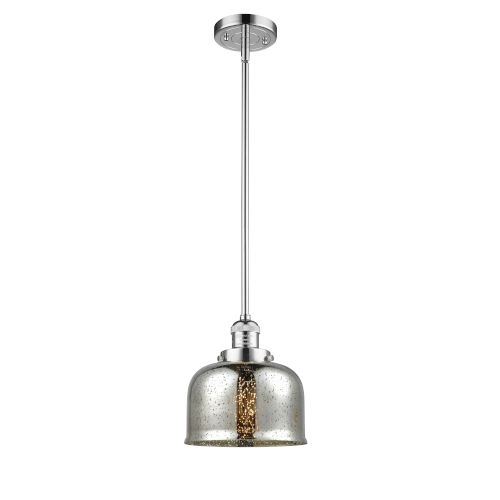 Large Bell Polished Chrome LED Hang Straight Swivel Mini Pendant with Silver Plated Mercury Glass