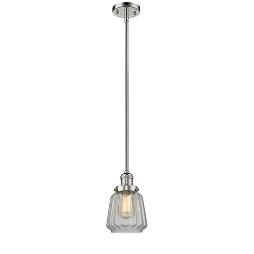 Innovations Lighting Chatham Polished Nickel Eight-Inch LED Mini Pendant with Clear Fluted Novelty Glass