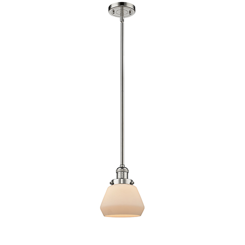 Innovations Lighting Fulton Polished Nickel Nine-Inch LED Mini Pendant with Matte White Cased Sphere Glass