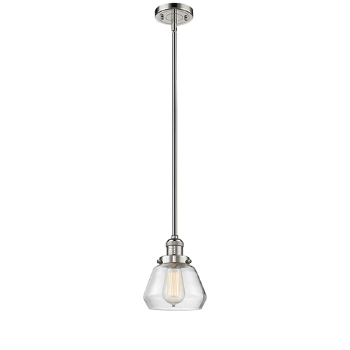 Innovations Lighting Fulton Polished Nickel Nine-Inch LED Mini Pendant with Clear Sphere Glass