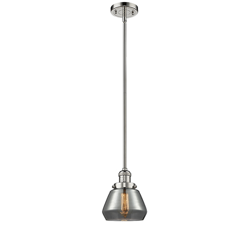 Innovations Lighting Fulton Polished Nickel Nine-Inch LED Mini Pendant with Smoked Sphere Glass