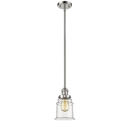 Innovations Lighting Canton Polished Nickel 10-Inch One-Light Mini Pendant with Clear Bell Glass