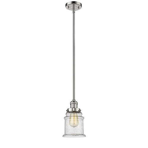 Innovations Lighting Canton Polished Nickel 10-Inch One-Light Mini Pendant with Seedy Bell Glass