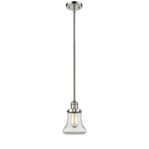 Innovations Lighting Bellmont Polished Nickel 10-Inch LED Mini Pendant with Clear Hourglass Glass