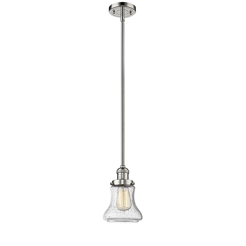 Innovations Lighting Bellmont Polished Nickel 10-Inch One-Light Mini Pendant with Seedy Hourglass Glass