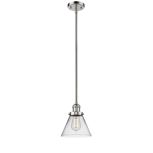 Innovations Lighting Large Cone Polished Nickel 10-Inch LED Mini Pendant with Clear Cone Glass