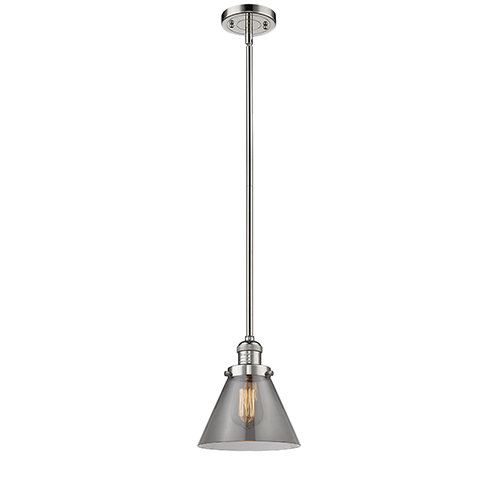 Innovations Lighting Large Cone Polished Nickel 10-Inch LED Mini Pendant with Smoked Cone Glass