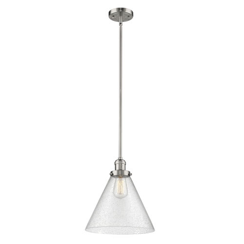 X-Large Cone Polished Nickel LED Hang Straight Swivel Pendant with Seedy Glass