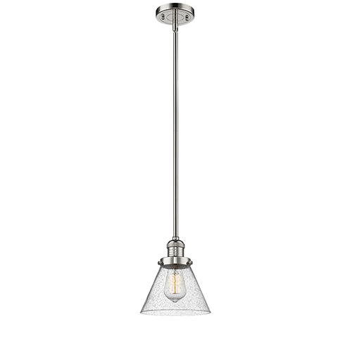 Innovations Lighting Large Cone Polished Nickel 10-Inch LED Mini Pendant with Seedy Cone Glass