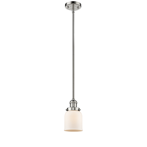 Innovations Lighting Small Bell Polished Nickel 10-Inch One-Light Mini Pendant with Matte White Cased Bell Glass