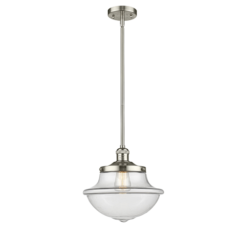 Innovations Lighting Oxford School House Polished Nickel 11-Inch One-Light Pendant with Clear Bell Glass