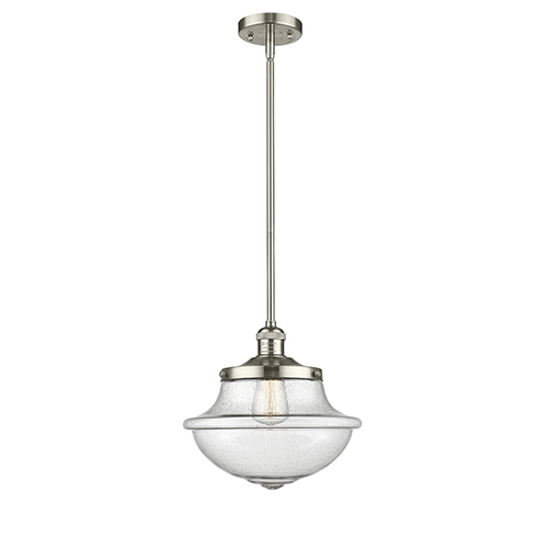 Innovations Lighting Oxford School House Polished Nickel 11-Inch One-Light Pendant with Seedy Bell Glass