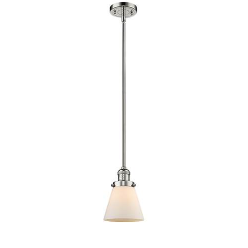 Small Cone Polished Nickel Eight-Inch One-Light Mini Pendant with Matte White Cased Cone Glass