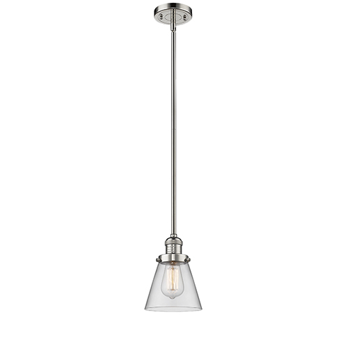 Innovations Lighting Small Cone Polished Nickel Eight-Inch One-Light Mini Pendant with Clear Cone Glass