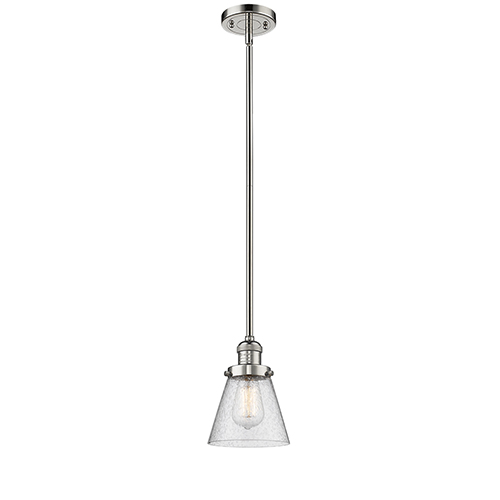 Innovations Lighting Small Cone Polished Nickel Eight-Inch LED Mini Pendant with Seedy Cone Glass