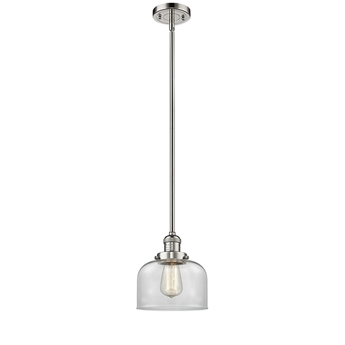 Large Bell Polished Nickel 10-Inch One-Light Mini Pendant with Clear Dome Glass