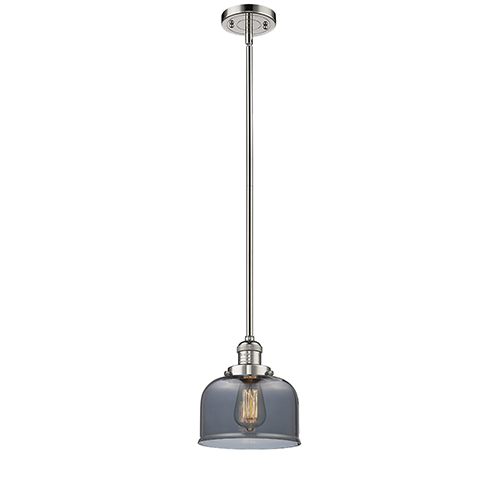 Large Bell Polished Nickel 10-Inch One-Light Mini Pendant with Smoked Dome Glass